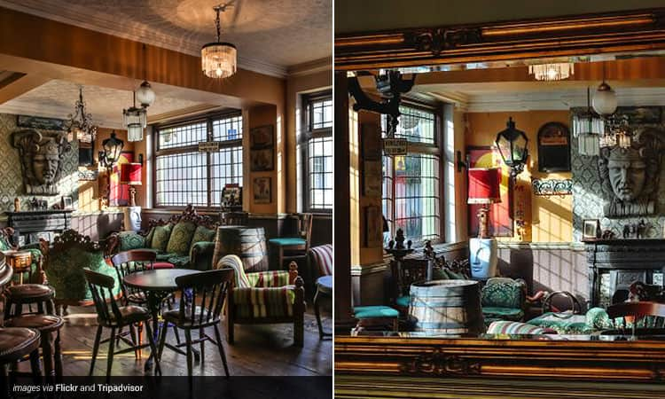 Two tiled images of the interiors of The Prince of Greenwich bar in South East London