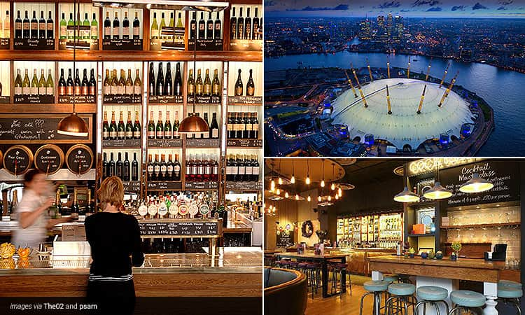 Three tiled images - one of the interiors of a bar with lots of wine on shelves, one of the 02 arena at dusk and one of the inside of a cocktail bar come restaurant