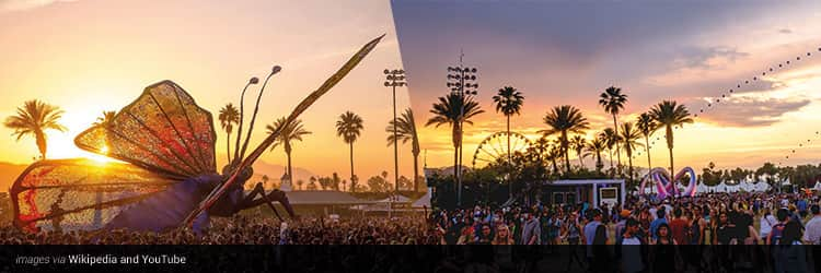Three tiled images - one of a huge ant above the crowd at Coachella, and one of people walking around a field at Coachella