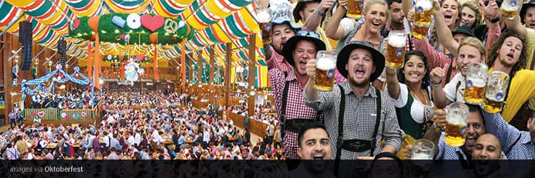 Three tiled images - one of people sat in a colourful beer tent, and one of a group of men holding beer steins up in the air