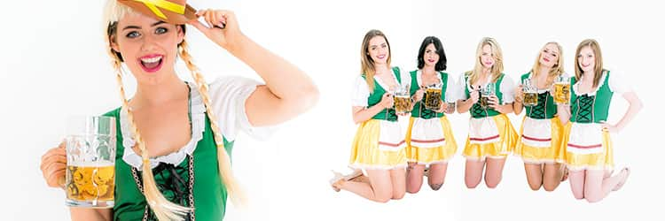 Two tiled images - close up of a woman in a Bavarian costume, and five women in Bavarian costumes on their knees