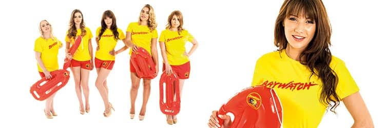 Two tiled images - five women in Baywatch costumes and holding red floats, and a close up of a woman in a yellow Baywatch top and holding a red float