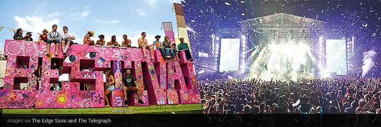 Three tiled images - one of the pink Bestival logo on the field and people sat on it, and one of a crowd watching a stage at night with confetti falling on them