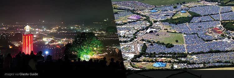 Three tiled images - one of Glastonbury at night with lights lit up, and a birds eye view of the Glastonbury tent field site