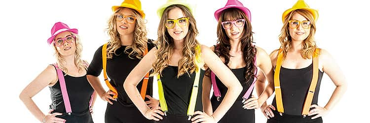 A close up image of women in black vests, wearing neon-coloured braces, hats and sunglasses