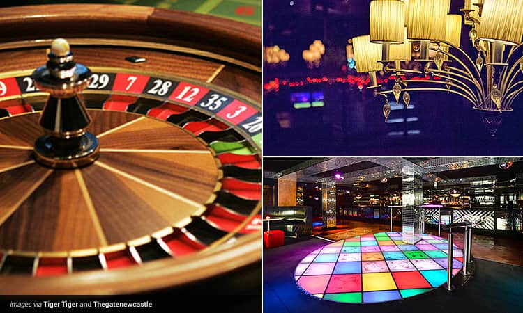 Three tiled images - one of a roulette wheel, one of a multicoloured dancefloor and one of an atmospheric lampshade