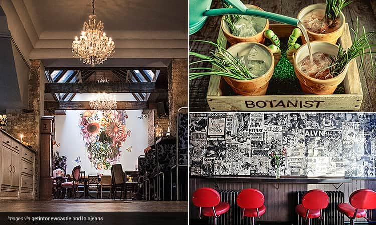 Three tiled images - one of the painted skull in Lola Jeans bar, some gardening themed cocktails in The Botanist and the interiors of Alvino's