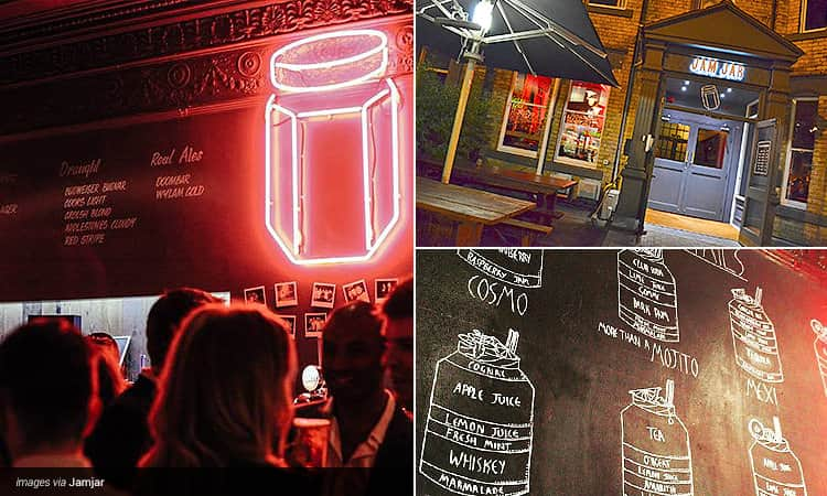 Three tiled images of Jam Jar in Jesmond - one of a neon jam jar above the bar, one of the exteriors and one of the cocktail menu on a chalkboard
