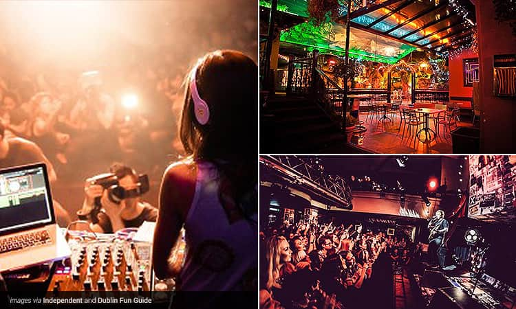 Three tiled images - including one of a female DJ performing with a crowd in the background, one of the beer garden at Dtwo, Dublin, and one of Ed Sheeran on stage performing to a crowd