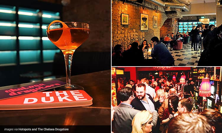 Three tiled images - including one of an orange cocktail on an empty table, one of people queuing for a bar in a busy club, and one of people sat at tables in The Chelsea Drugstore, Dublin