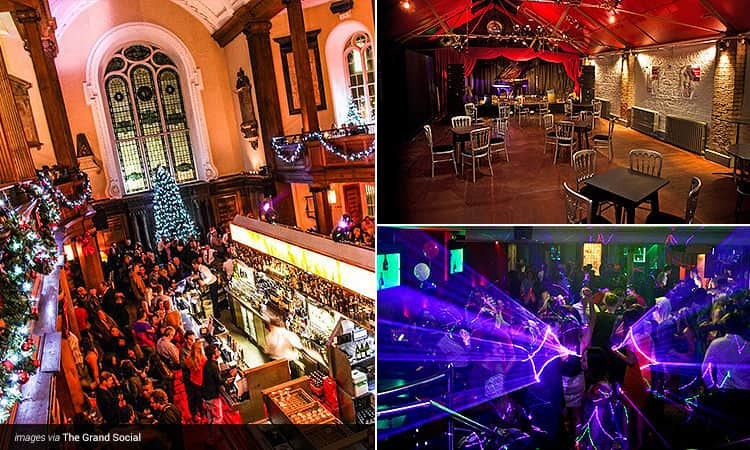 Three tiled images - including one of people stood on the bottom level of The Church Bar and Restaurant, one of tables and chairs in an empty room with a red roof, and one of people dancing with neon lights surrounding them