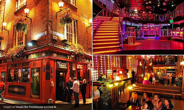 Three tiled images - including one of the exterior of The Temple Bar pub, the dance floor with a huge staircase at Club M, and the seating and table area with people in at Porterhouse, Dublin