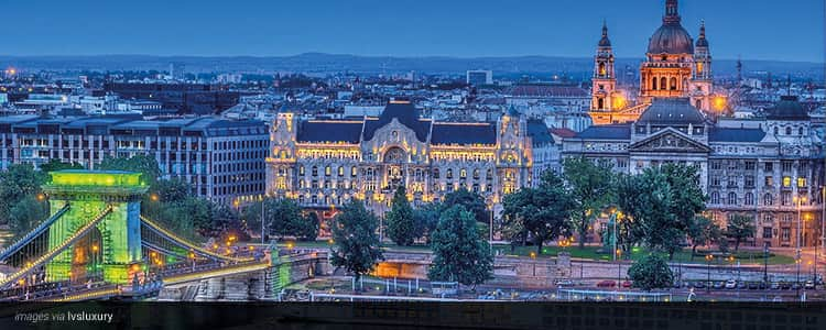 City of Budapest illuminated at dusk