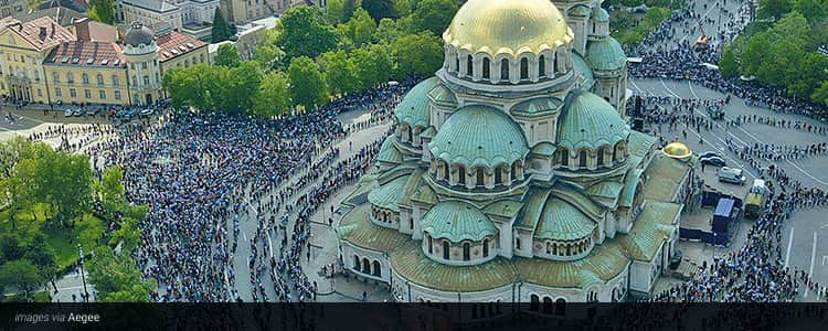 Alexander Nevsky Cathedral from a bird's eye view, surrounded by tourists