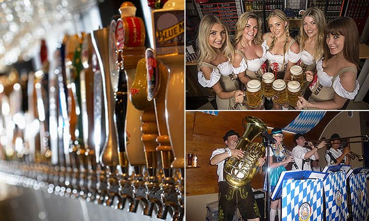 Three tiled images - including one of beer taps, five women in Bavarian costumes holding full steins, and one of an Oompa Loompa band