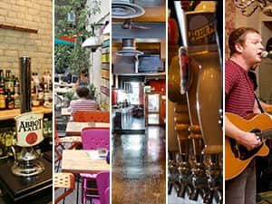 Five tiled images - including one of an Abbot Ale beer tap, tables and chairs outdoors in a terrace, an empty bar, and a man playing a guitar