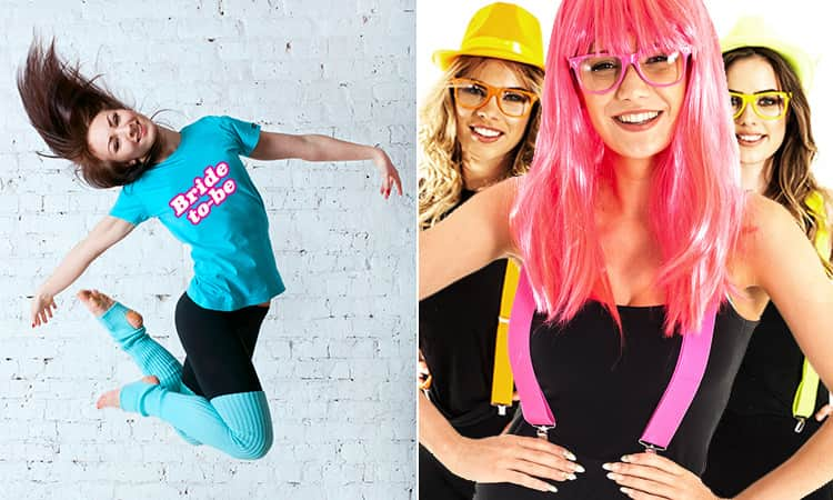 Two tiled images, one of a woman jumping in a blue Bride-to-Be T-shirt, and one of a woman in a pink wig and pink braces with women in the background
