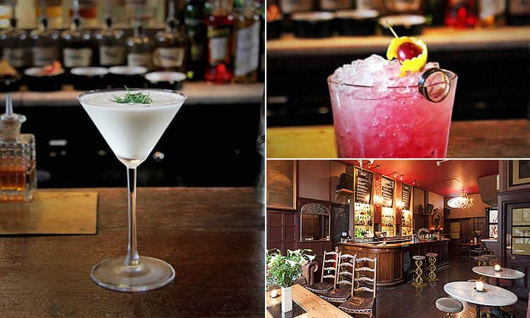 Three tiled images of two cocktails in Four Sisters bar, and the interiors of the bar