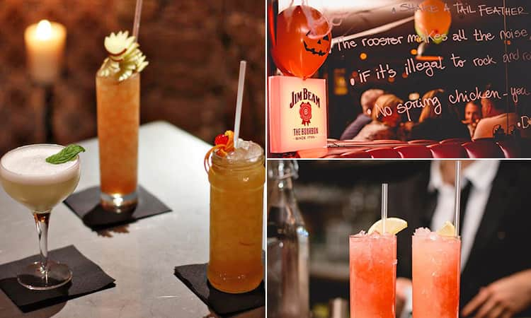 Three tiled images of cocktails in Jailbird bar, and a mirrored wall with writing on