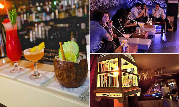 Three tiled images of cocktails, a hanging birdcage and the interiors of Ladybird Bar in London