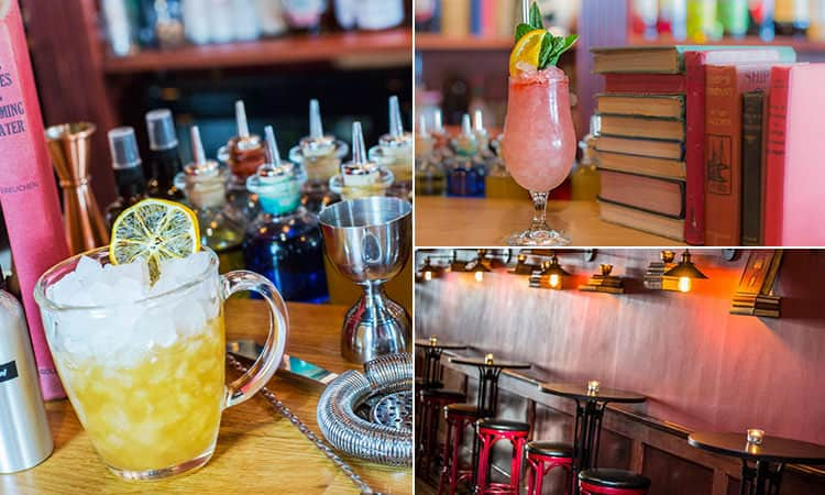 Three tiled images of the interiors of London's Little Bat bar, including two of the luxurious cocktails on offer