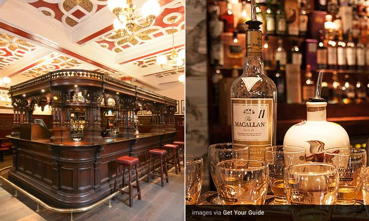 Two images of The Abbotsford - including one of the dark mahogany bar, and a bottle of whisky with glasses placed in front
