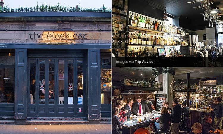 Three tiled images of The Black Cat - including the exterior, people drinking in the bar, and the spirits on the shelves behind the bar