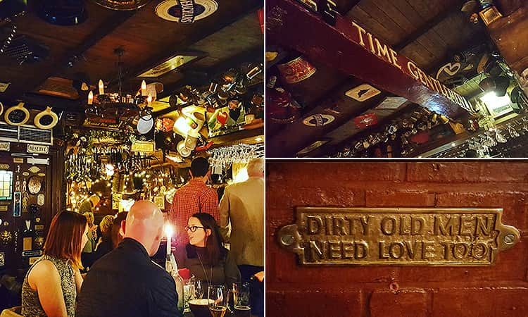Three tiled images of Dirty Dicks, Edinburgh - including people sat at a table in the bar, the ceiling at the bar covered in bric-a-brac, and a sign on a brick wall