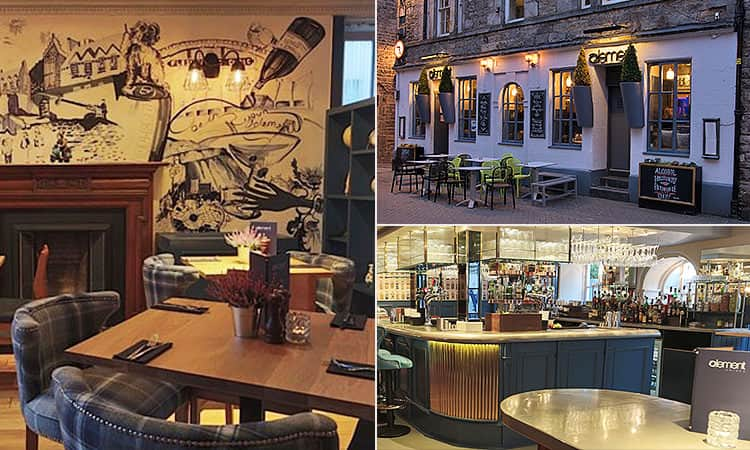 Three tiled images of Element, Edinburgh - including the exterior, seating inside the bar, and the bar itself