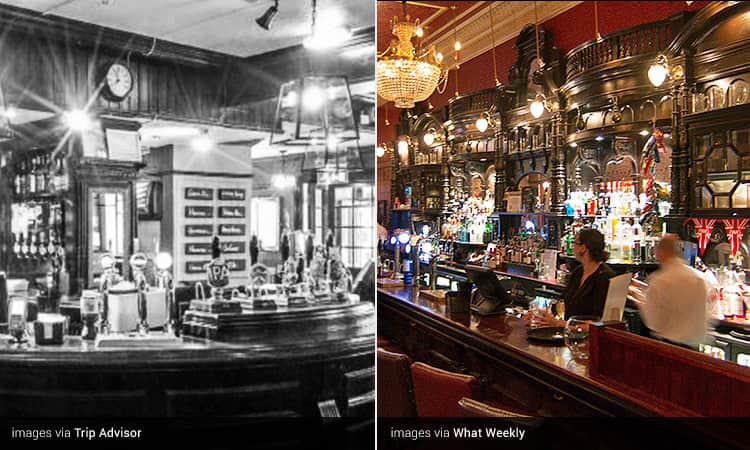 Two images of Milnes Bar - including a black and white close up of the bar, and two people behind the bar