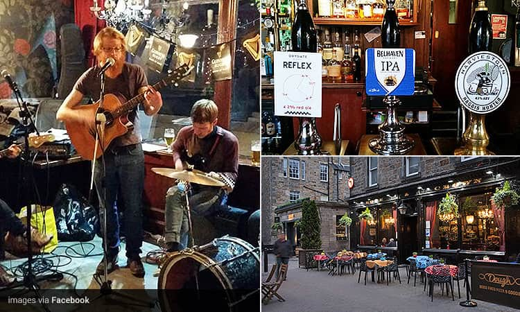 Three tiled images of Rose & Crown, Edinburgh - including real ale beer pumps, a man singing and playing guitar, and the outdoor seating