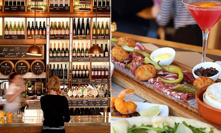 A split image of the bar area and some nicely presented food in Edinburgh's All Bar One