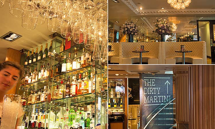 Tiled image of the bar area at Le Monde, plush white leather seats and a sign for The Dirty Martini bar