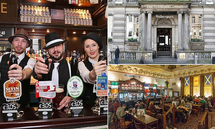 The exterior of The Standing Order in Edinburgh, three bar staff pulling pints and the interiors of the bar