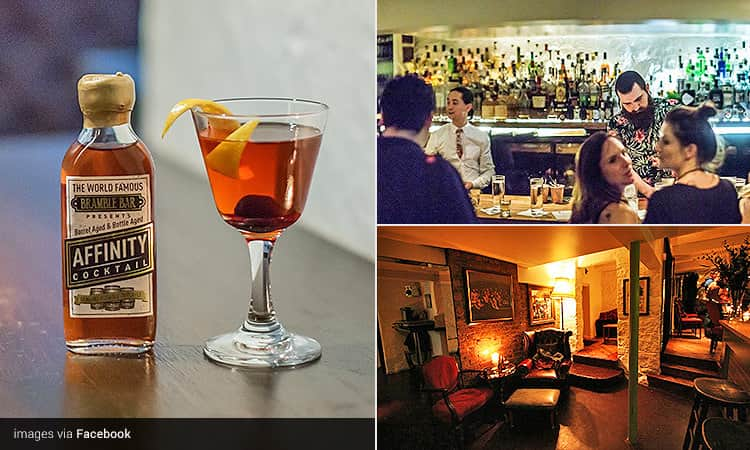 Three tiled images of Bramble Bar, Edinburgh - including an orange cocktail next to a small bottle of orange liquid, people sat at the bar with bartenders serving, and the dimly-lit interior
