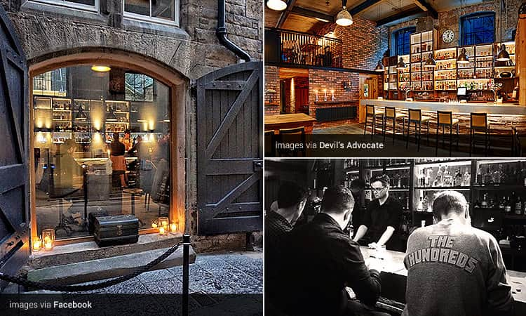 Three tiled images of The Devil's Advocate, Edinburgh - including one of the exterior with the door open, people sat at the bar and the interior with the mezzanine level