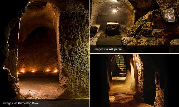 Three tiled images of the caves at Gilmerton Cove, Edinburgh
