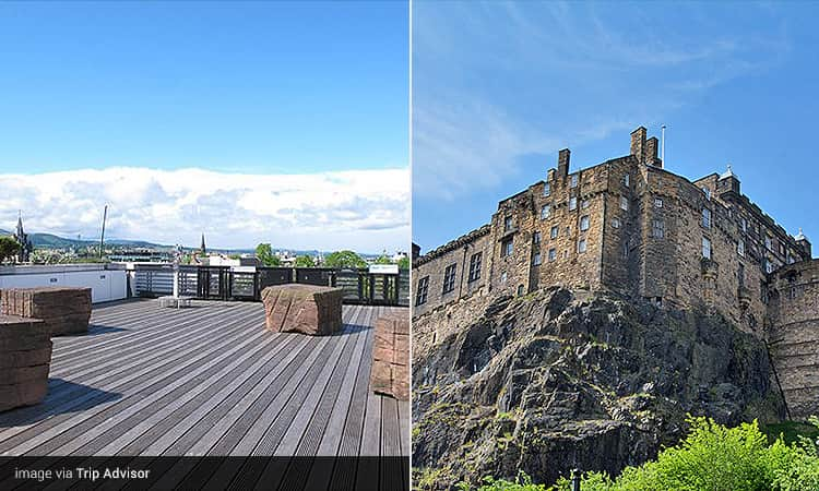 Two tiled images - featuring one of the National Museum of Scotland rooftop terrace, and Edinburgh Castle during the day