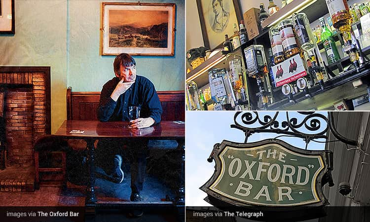 Three tiled images of The Oxford Bar, Edinburgh - including one of a man sat at a table and holding a pint, the sign and spirits on the shelves