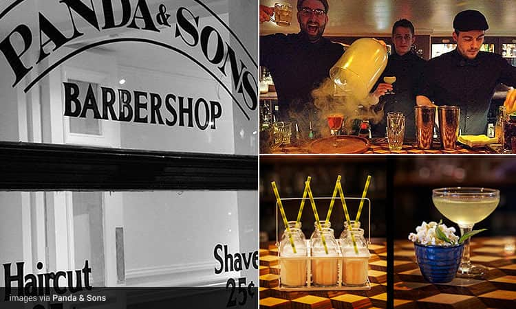 Three tiled images of the Panda & Sons, Edinburgh - including one of the barbershop sign, cocktails placed on a table, and bartenders making cocktails