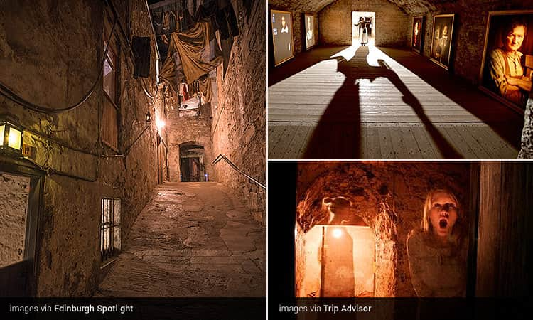 Three tiled images of the Real Mary King's Close - including the underground passages, a woman screaming to camera, and the silhouette of a woman in a doorway