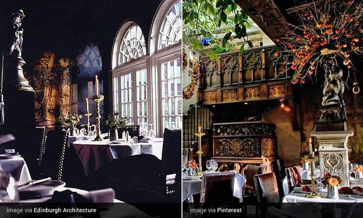 Two images of the Secret Garden at The Witchery by the Castle, Edinburgh - including images of the seating areas