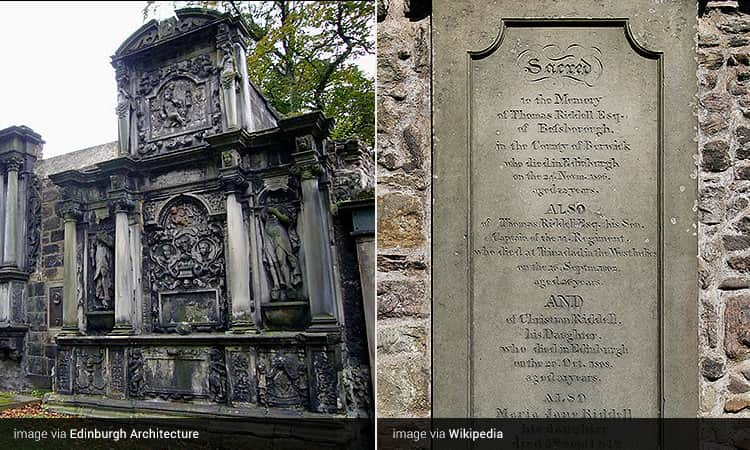 Two tiled images - including one of a grave at Greyfriars Kirkyard, and one of Thomas Riddle's grave in Edinburgh