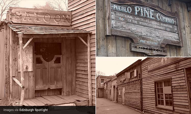 Three tiled images of the Wild West Alleyway, Edinburgh - including one of the saloon, a sign and the wooden shacks