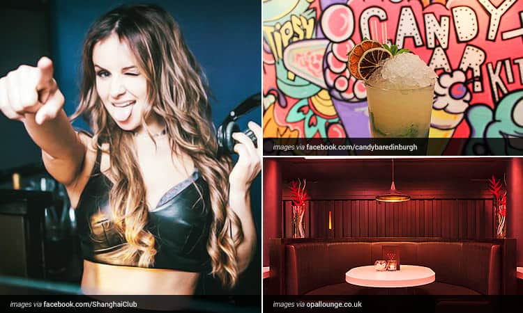 Three tiled images of; A female DJ winking and pointing at the camera, a cocktail in front of a graffiti style wall mural and a red booth at Opal Lounge