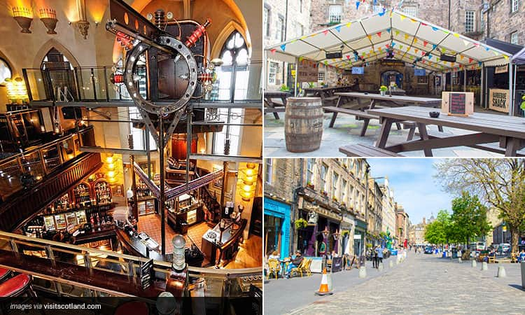 Three tiled images of; the interior of Frankenstein, the beer garden at The Three Sisters and a view down the Grassmarket