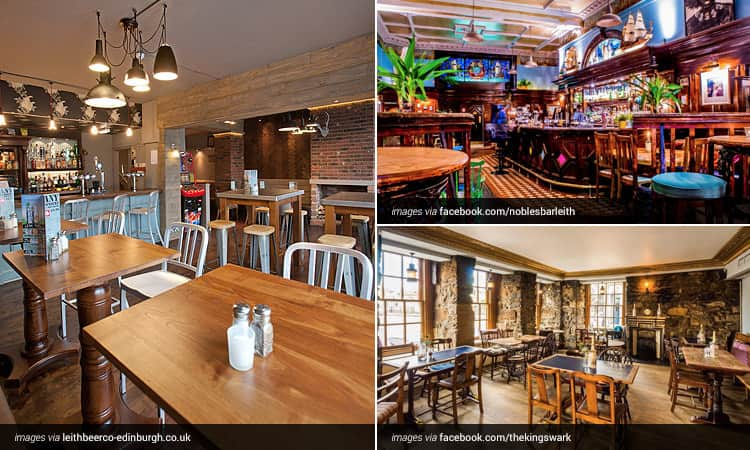 The interior of Leith Beer Co, The interior of Nobles Bar and The interior of The Kings Wark