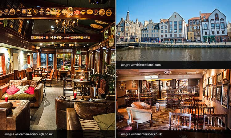 A tiled image of the interiors of Cameo Edinburgh and Teuchters as well as a view over a Leith waterfront terrace