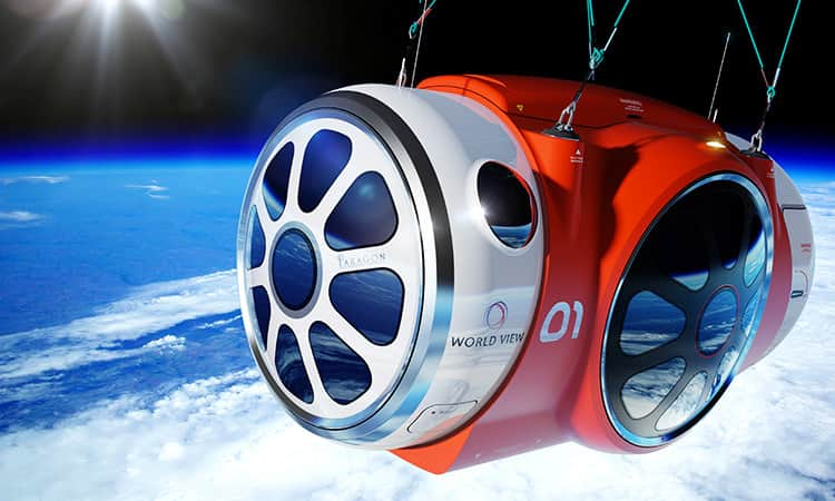 World View capsule high above the earth in the background.