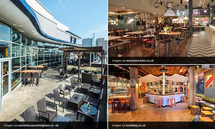 Three tiled images - the outdoor terrace at Rocket and the interiors of Turtle Bay and Revolution Nottingham Cornerhouse